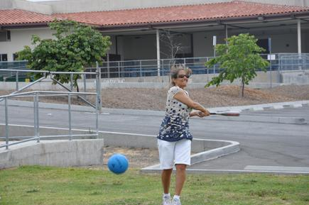 Julie Winter belts a line drive in Cross Country Big Ball Palos Verdes Open