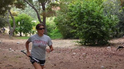 Cross-Country BigBall Fanatic and Track Star Whitney Liehr cruises up a difficult canyon course.