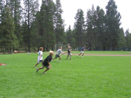 Kids love playing Cross Country Big Ball at Sunriver in Oregon